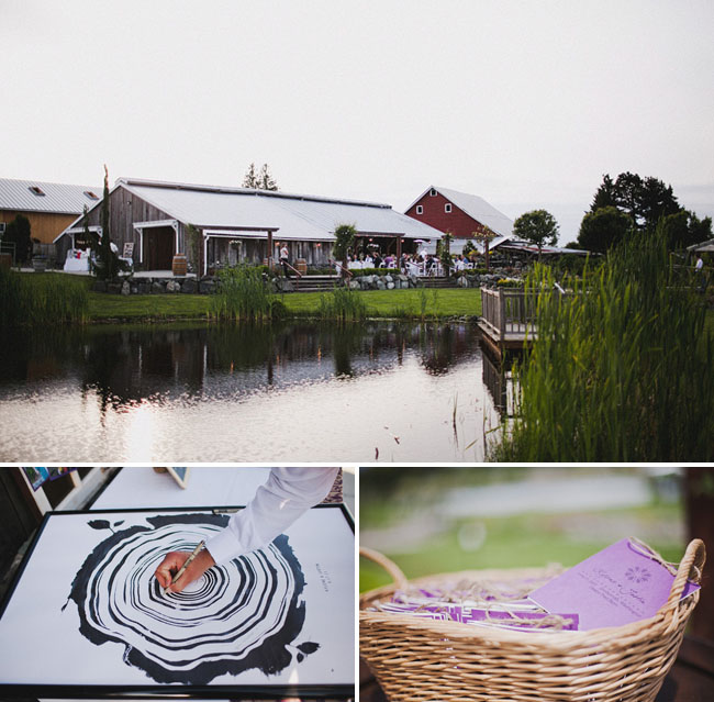 farm wedding with tree ring guestbook
