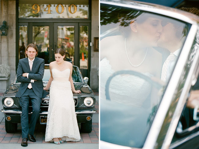 bride and groom with car