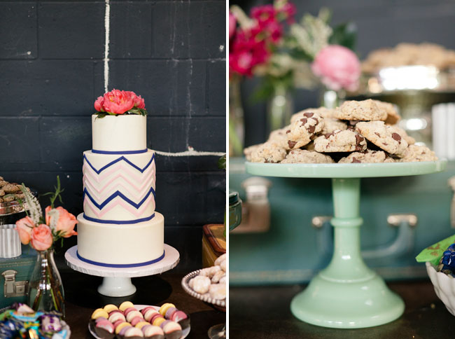 wedding cake with chevron pattern