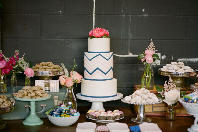 wedding cake with chevron pattern