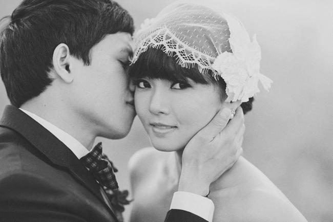 bride with romantic veil