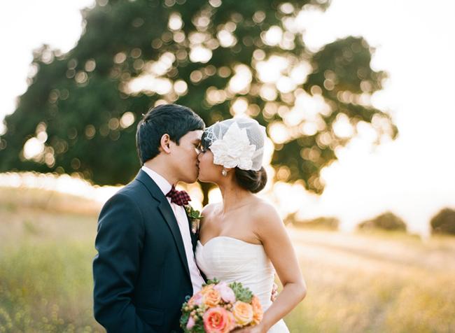 bride with unique veil