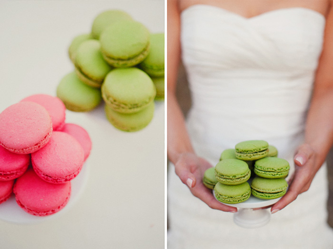 bride with green macaroons
