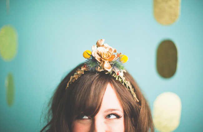 gold succulent hairpiece