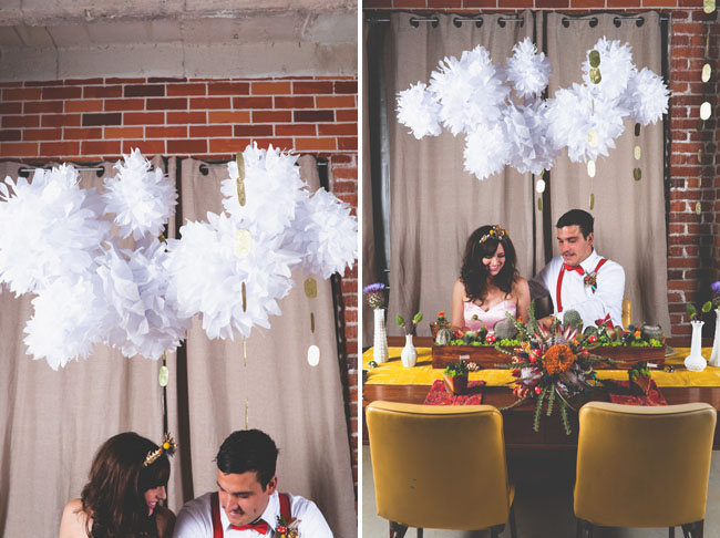 white pom poms wedding decor
