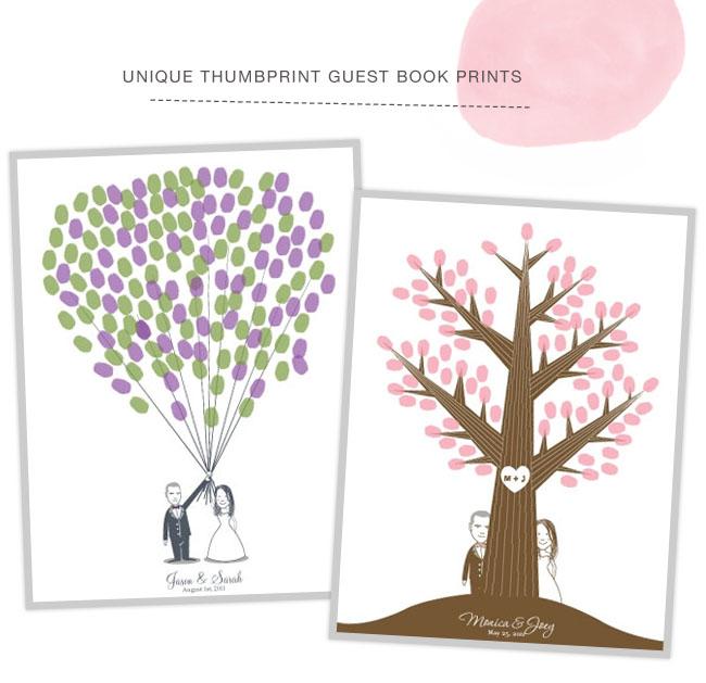 unique thumbprint guest book prints