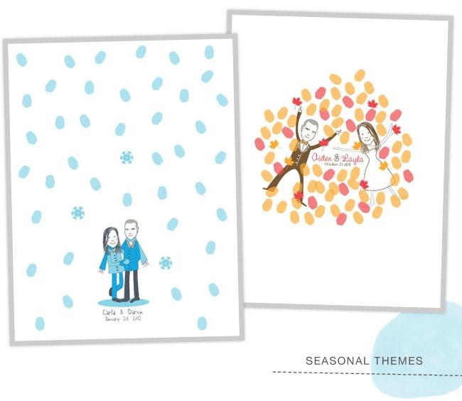 winter fall thumbprint guestbooks