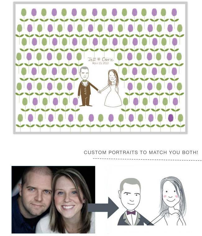 spring thumbprint guestbooks with custom bride and groom