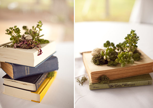 DIY book planter with succulents and fabric flowers