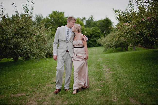 bride and groom in tree grove