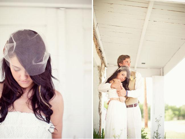 bride in short veil