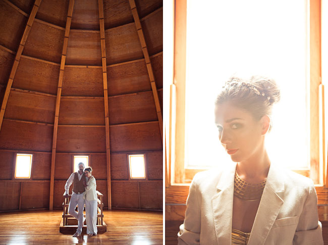 bride and groom married at planetarium