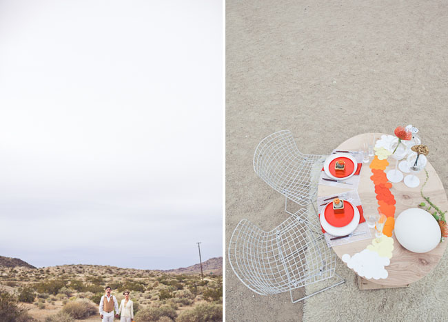 wedding table with orange ombre