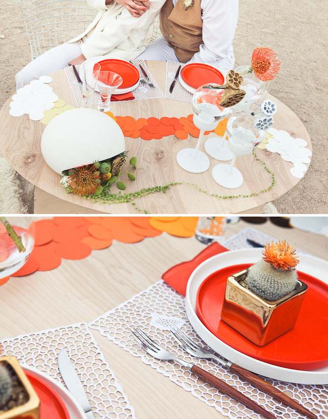 orange ombre wedding table design