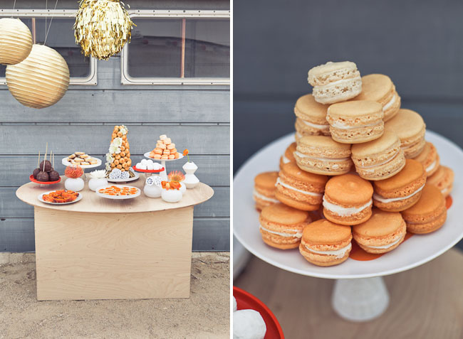 astronomy dessert table orange macaroons