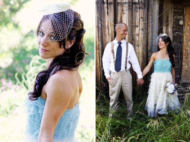 bride in blue wedding dress