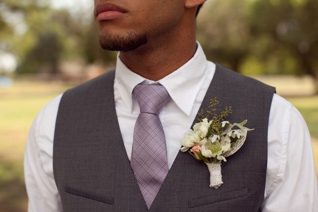 groom with a rustic boutonniere