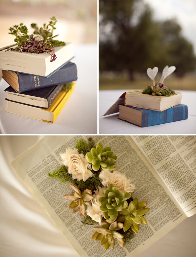 book with succulents and fabric flowers