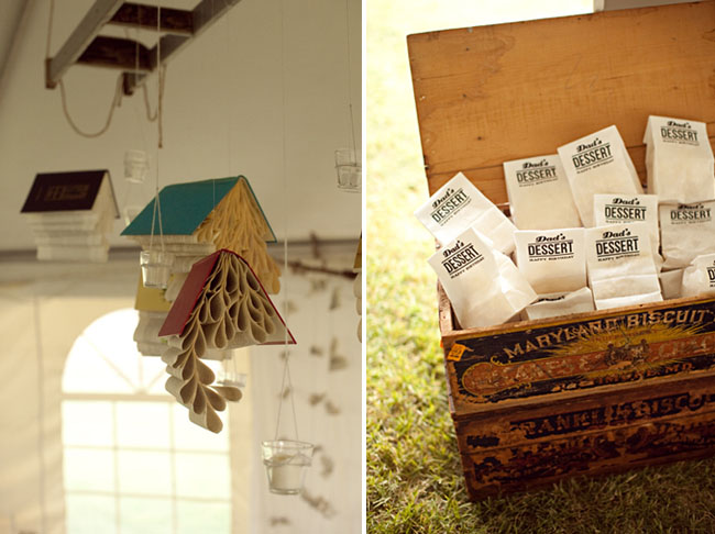 hanging books at a wedding