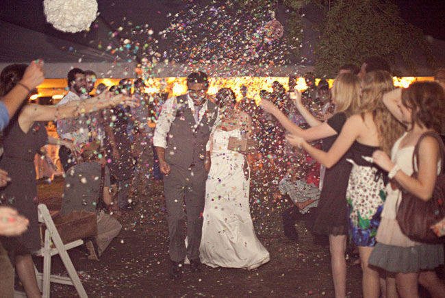 wedding exit with confetti