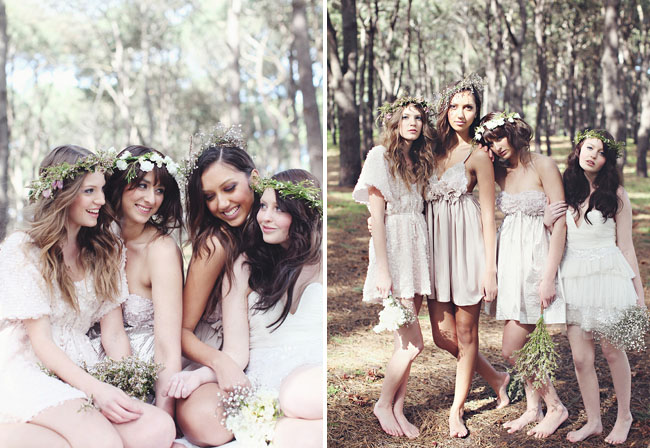 bridemaids in forest