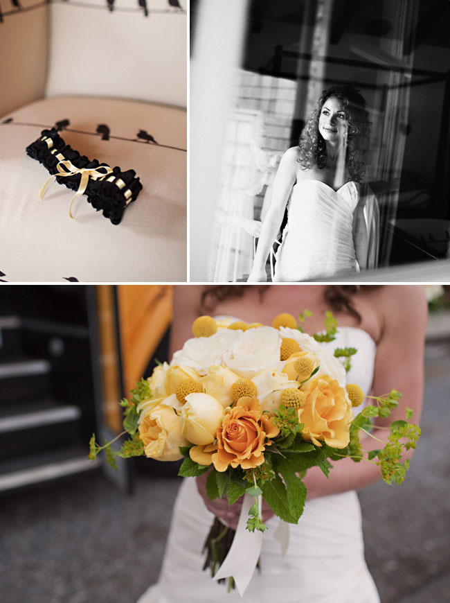 yellow bouquet with roses