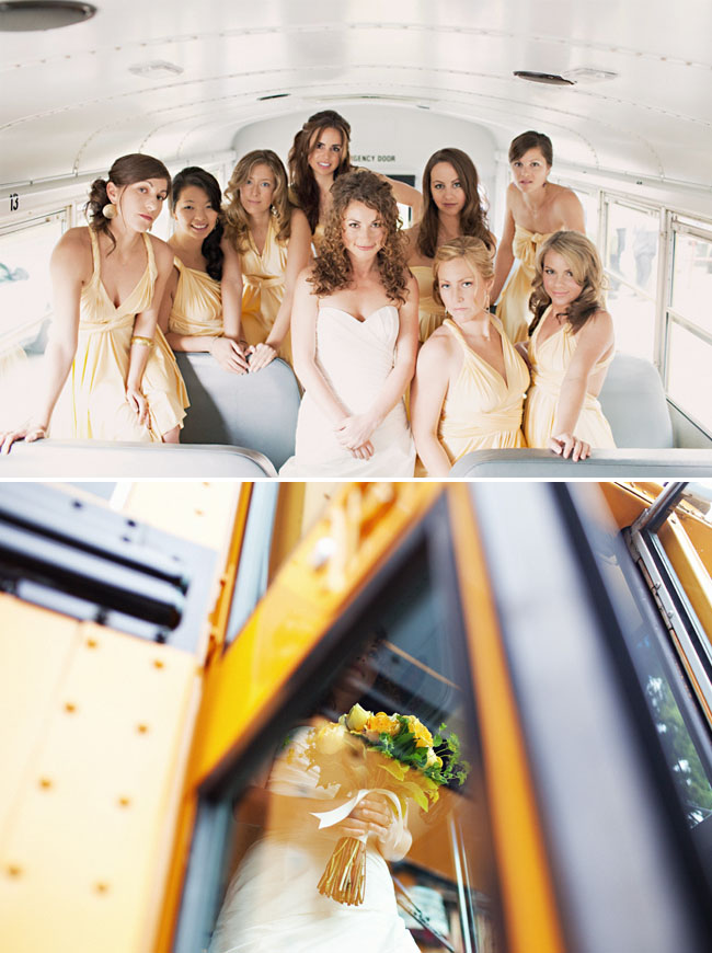 bridesmaids in yellow bus