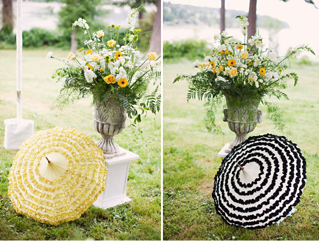 black and yellow wedding umbrellas