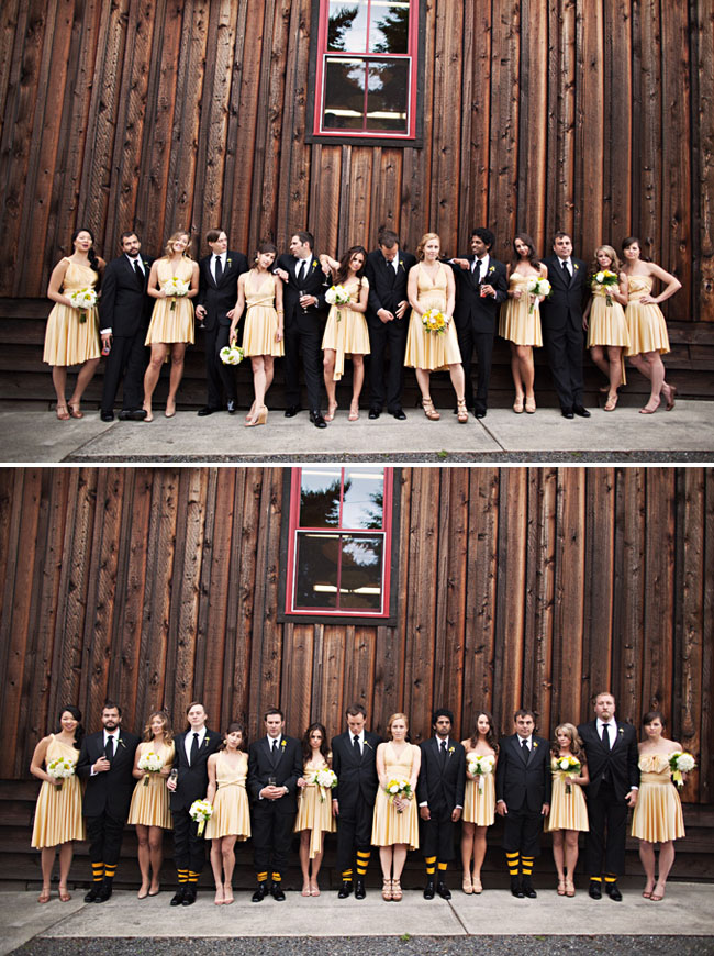 black and yellow bridal party