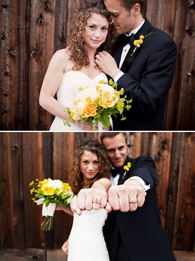 bride and groom with rings