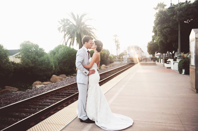 bride and goom at train station