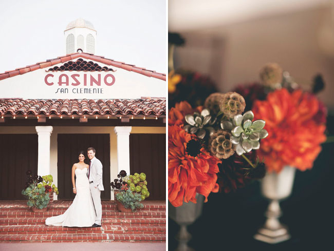 bride and groom at casino san clemente