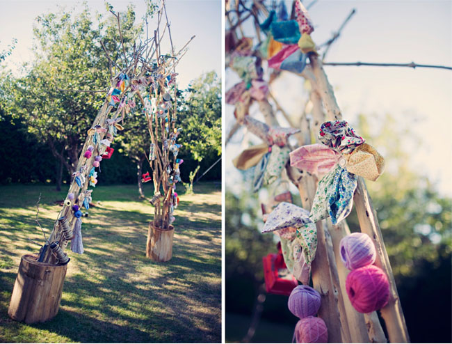 whimsical yarn and fabric altar
