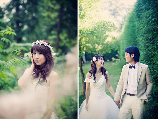 bride in bohemian flower hairpiece