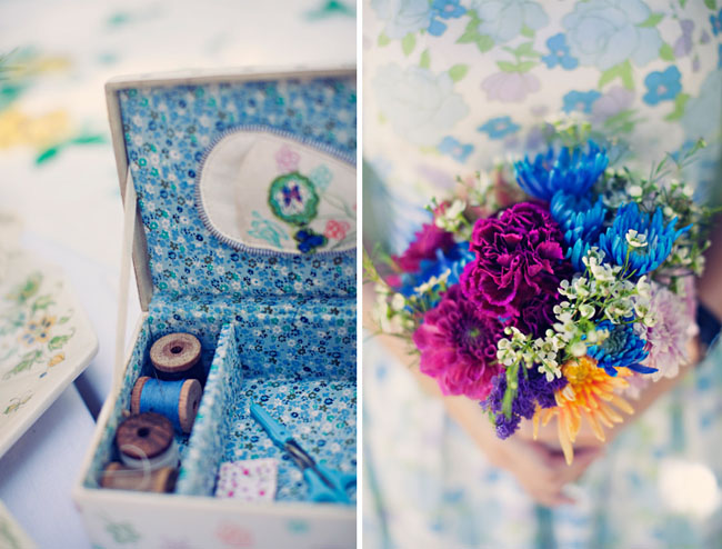 sewing box reception decor