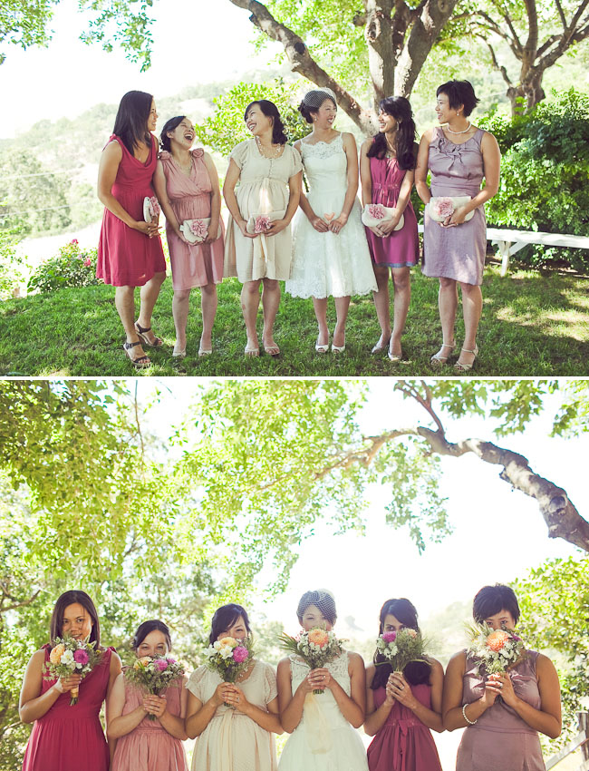 mix and match pink bridal party