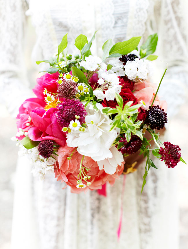 pink white maroon wedding bouquet