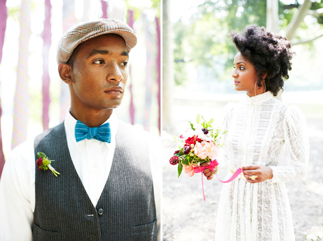 groom in blue bow tie and newsboy hat