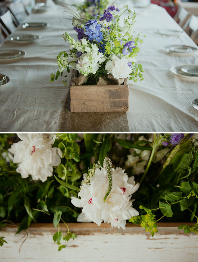 wedding flower centerpieces in wooden box