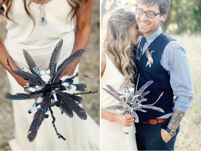 feather and silverware bouquet