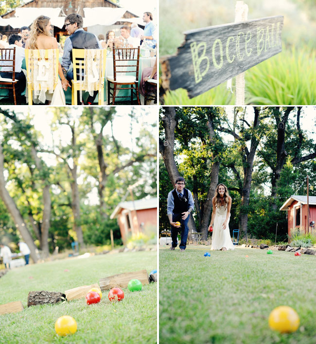 bocce ball game at wedding