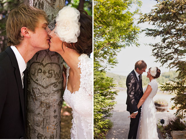 bride and groom tree carving