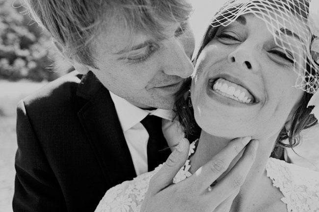 bride and groom sweet kiss