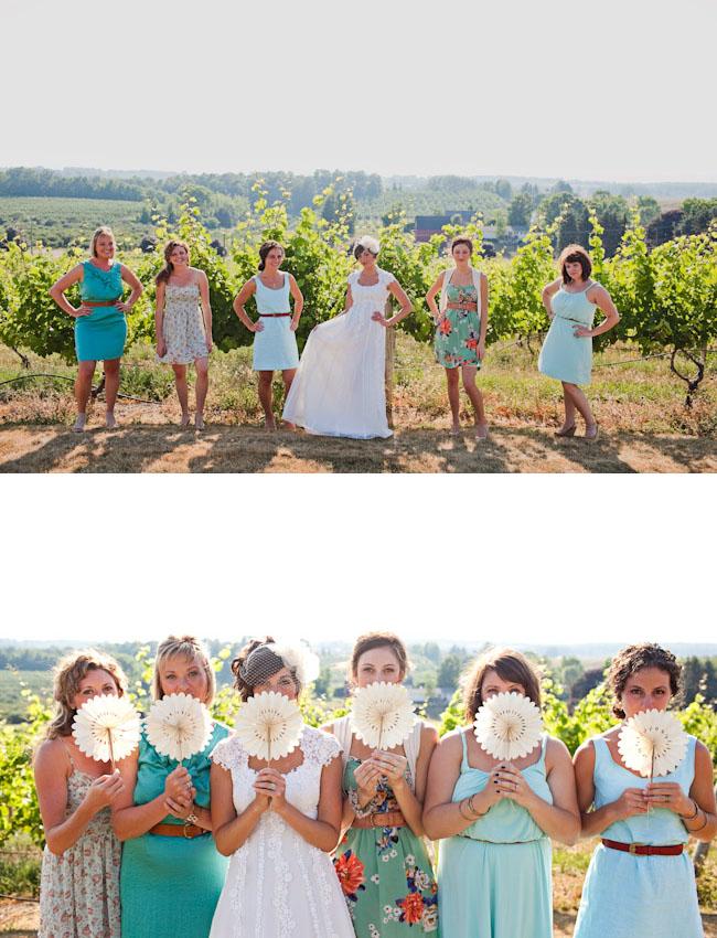 paper fan bridesmaids
