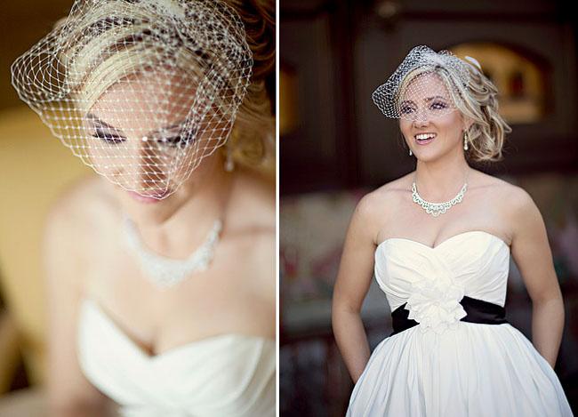 bride with black wedding belt