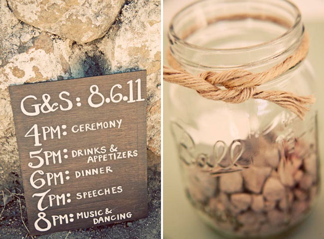 ceremony schedule on wood