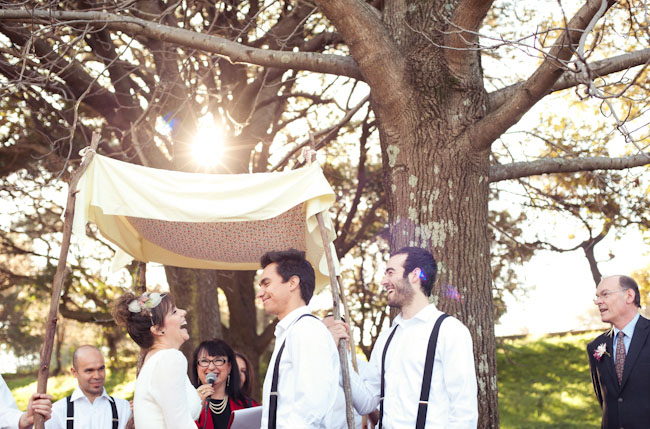 wedding in wooded area