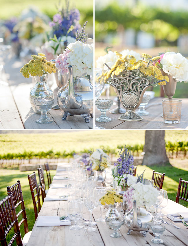 yellow and purple centerpieces