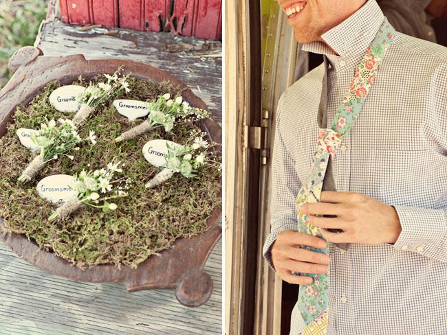 groom wearing floral tie