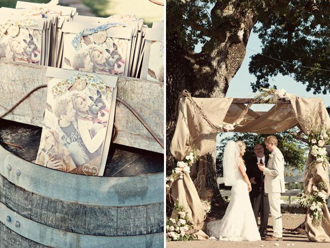burlap wedding altar